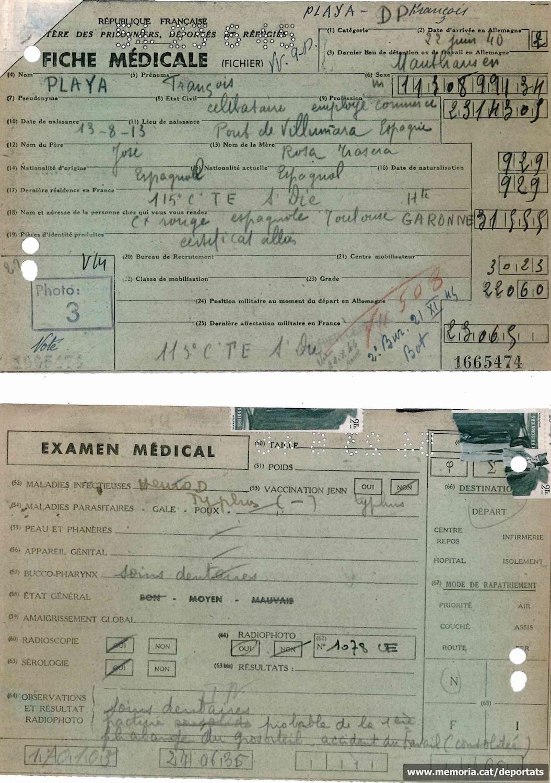Fitxa de la revisió mèdica de Playà quan va ser acollit a França després del seu alliberament.