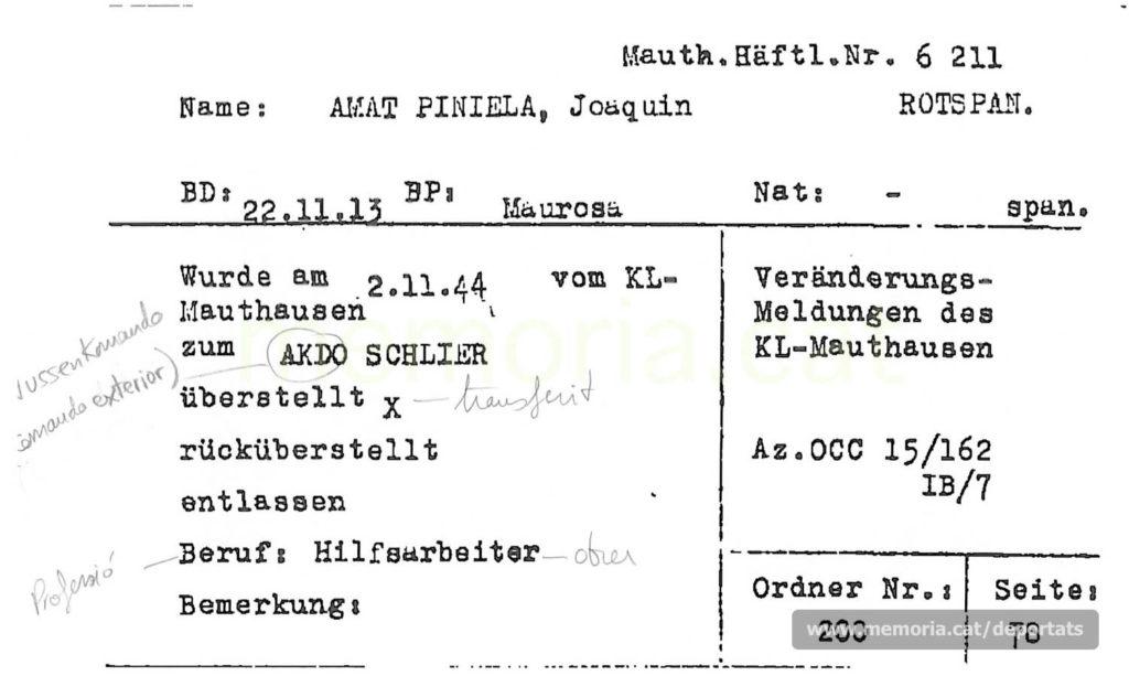 Fitxa del Servei de Recerques de la Creu Roja Internacional on consta el seu trasllat al commando exterior de Schlier el novembre de 1944. Aquestes fitxes es feren a partir del buidat dels llistats de Mauthausen, un cop alliberat el camp. (Font: ITS Bad Arolsen).