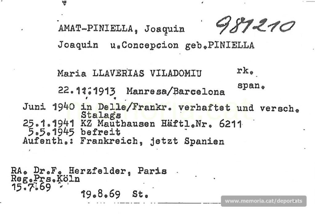 Nova fitxa de la Creu Roja Internacional, on apareix la seva esposa i el sr. F. Herzfelder, representant de deportats espanyols davant del govern alemany. (Font: ITS Bad Arolsen).