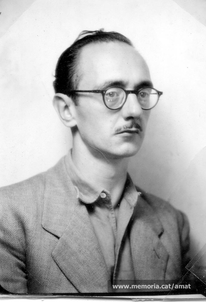 Joaquim Amat-Piniella l'any 1945, poc després de sortir de Mauthausen. (Arxiu Comarcal del Bages. Fons Joaquim Amat-Piniella)