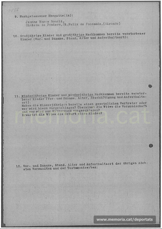 Acta de defunció d'Antoni Camps feta a Mauthausen. (Font: ITS Bad Arolsen)