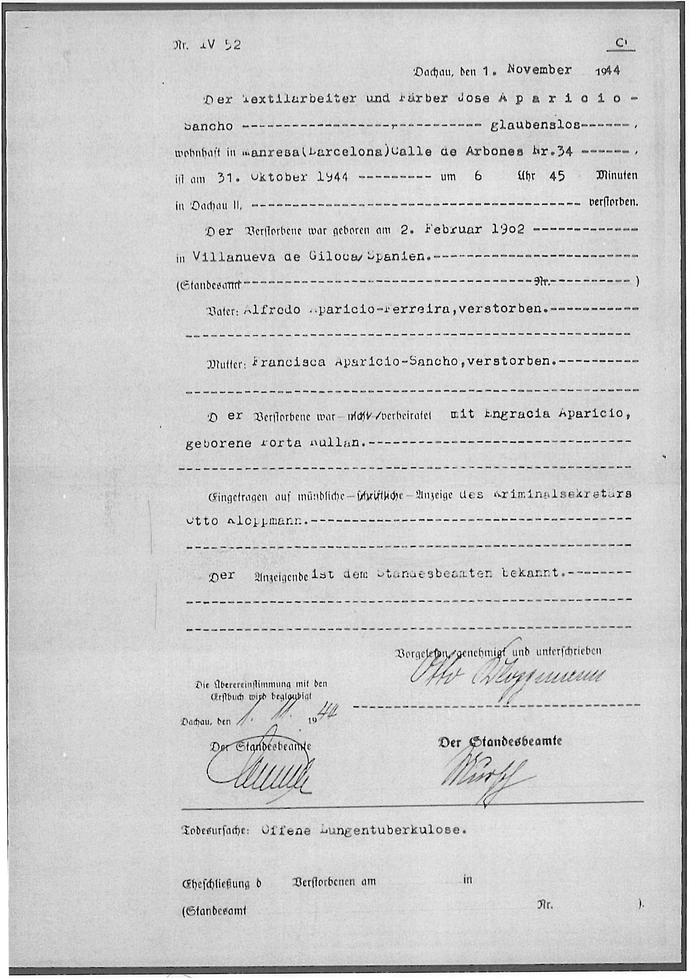 Anotacions mèdiques a partir de les radiografies fetes a Josep Aparicio, afectat de tuberculosi. (Font: ITS Bad Arolsen)