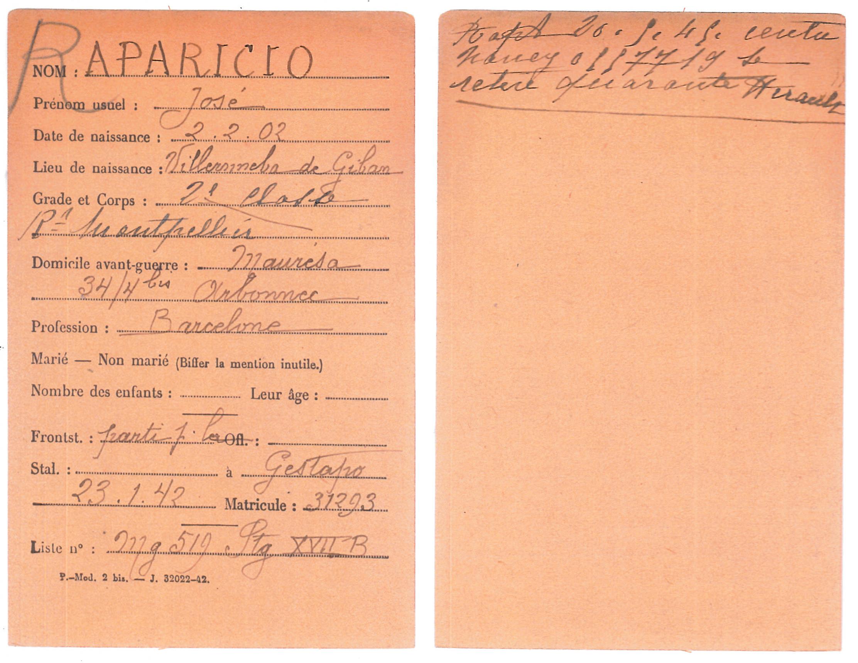 Acta de defunció de Josep Aparicio, feta a Dachau l'1-11-1944. (Font: ITS Bad Arolsen)