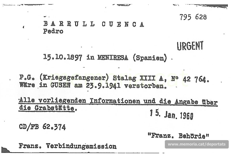 Fitxa de la Creu Roja International de gener de 1960 on consta el número i lloc de presoner de guerra (stalag) de Barrull i la data de la seva mort, oficialment a Gusen. (Font: ITS Bad Arolsen)