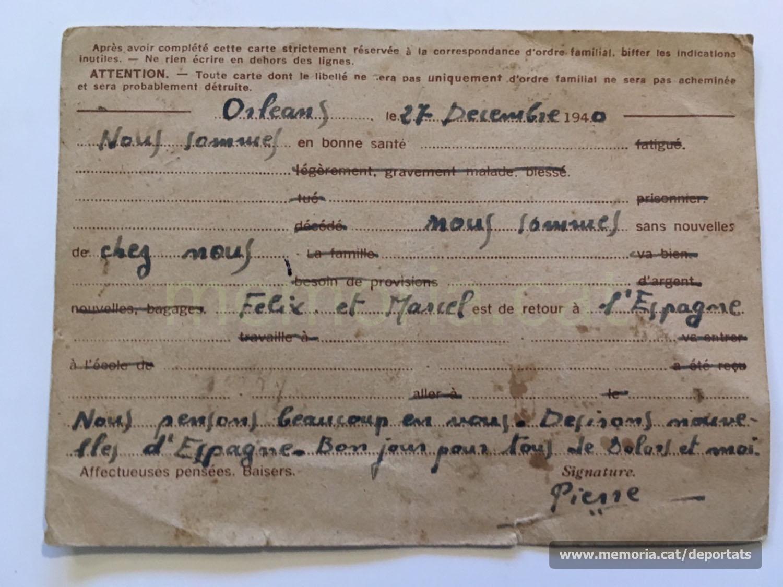Postal de tipus oficial i sotmesa a la censura de l'ocupant alemany que envia Pere Brunet des d'Orleans a uns coneguts que viuen a Besiers, en territori de la França no ocupada. Expressen el desig de rebre notícies de la seva família a Manresa i Sant Joan de Vilatorrada (Font: arxiu personal de Ferran Brunet)