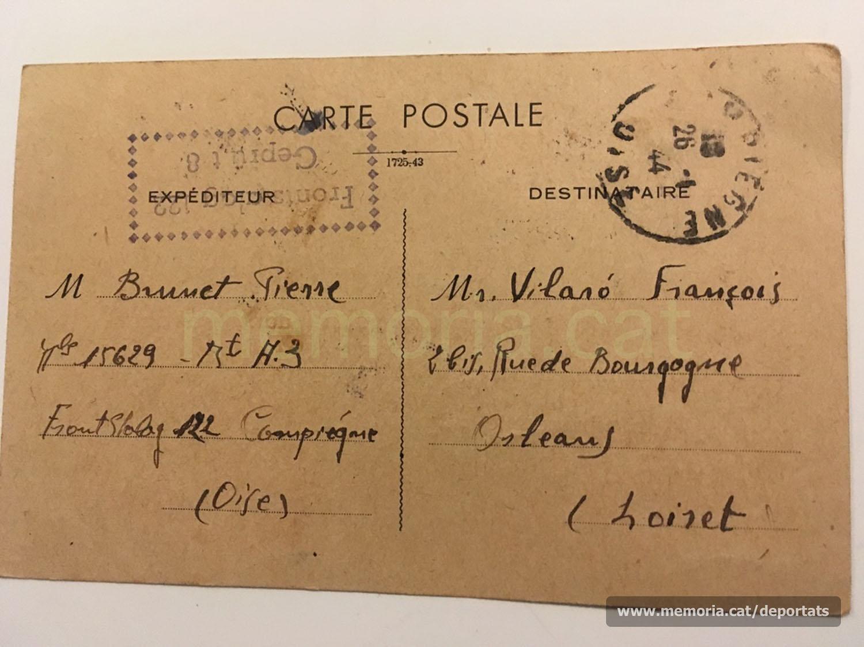 Postal standard de comunicació de transferiment del camp de Compiègne a un altre lloc (normalment, un camp de concentració nazi). L'envia Brunet al seu amic Francesc Vilaró el dia abans de la seva deportació cap a Buchenwald, el 16-1-1944 (Font: arxiu personal de Ferran Brunet)