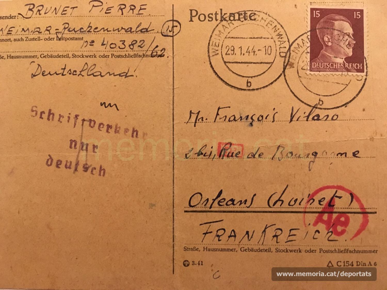 Postal de Brunet a Vilaró des del camp de concentració de Buchenwald, al cap de pocs dies de ser-hi. Escrita en alemany, probablement per algun company de captiveri (Font: arxiu personal de Ferran Brunet)