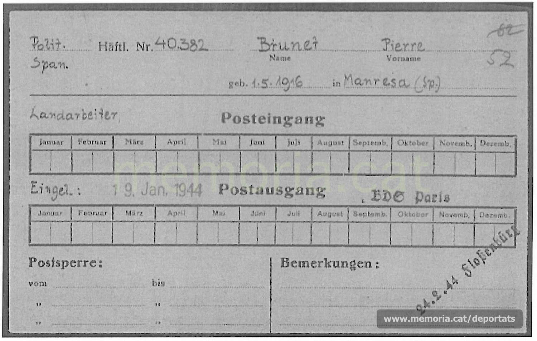 Dades de Brunet a Buchenwald dins una fitxa de correu rebut i enviat (Font: ITS Bad Arolsen)