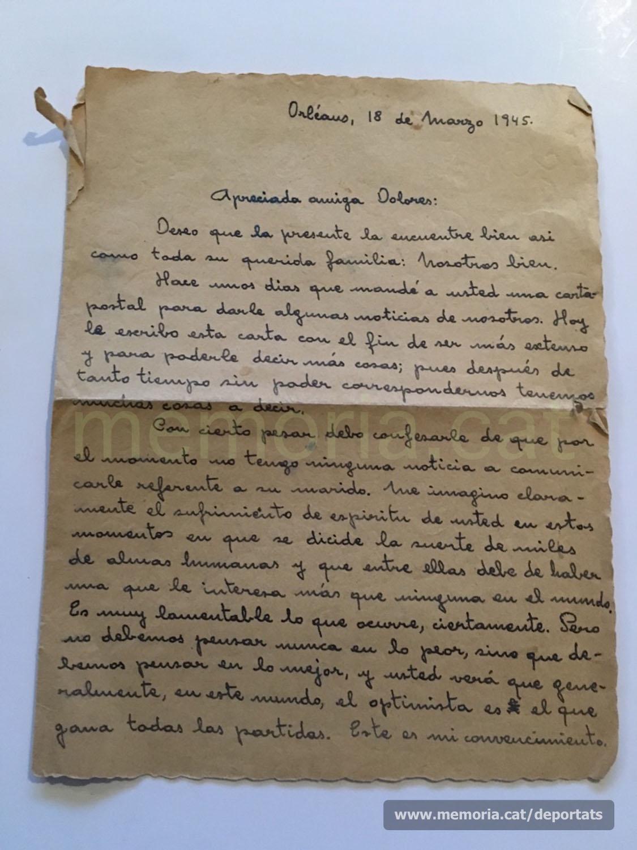 Carta de març de 1945 de Francesc Vilaró (Orleans) a Dolors Vila (Sant Joan de V.), animant-la, malgrat no tenir encara notícies de Pere Brunet (Font: arxiu personal de Ferran Brunet)