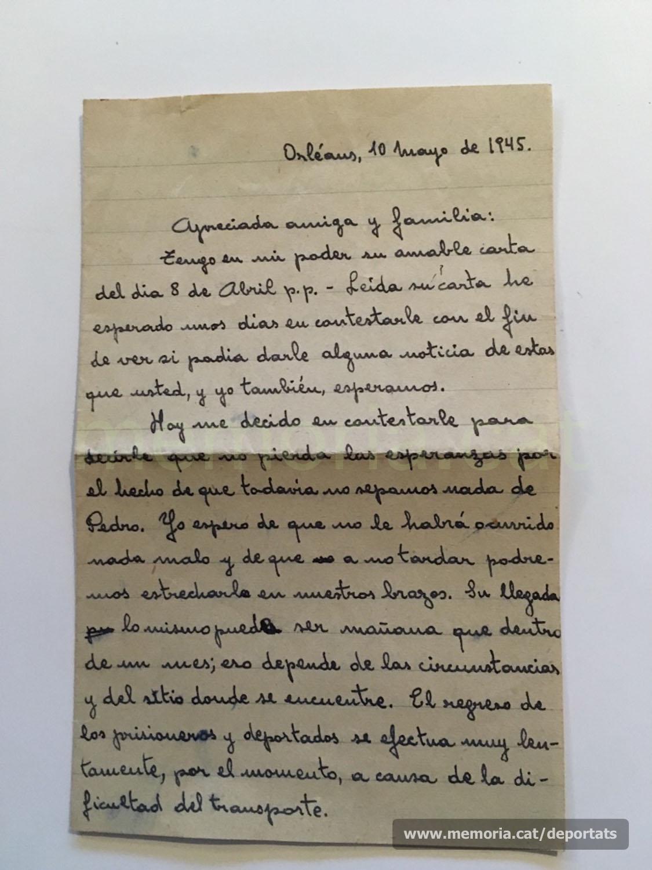 Carta del 10 de maig de 1945 de F. Vilaró a Dolors Vila, encara sense notícies de Pere brunet (Font: arxiu personal de Ferran Brunet)