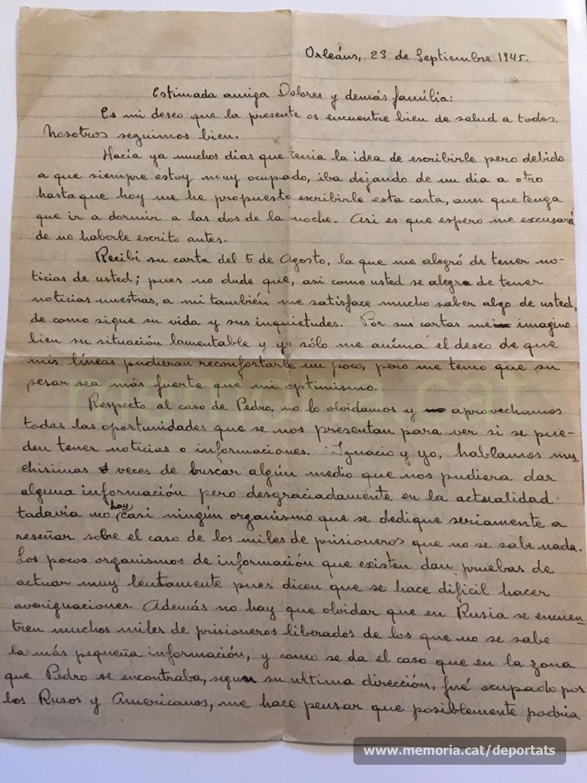 Carta de setembre de 1945 de F. Vilaró a Dolors Vila, explicant que intenten obtenir alguna informació d'en Pere (Font: arxiu personal de Ferran Brunet)
