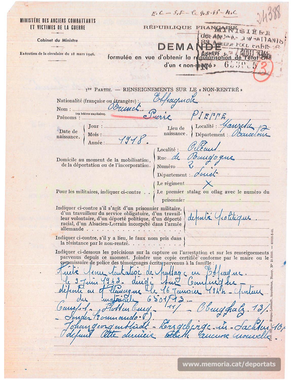 """Demande per obtenir del govern francès l'estatut de """"no retornat"""" per a Pere Brunet, a iniciativa d'Ignasi Vilaró (Font: Archives des Victimes des Conflits Contemporains – Caen, França)"""