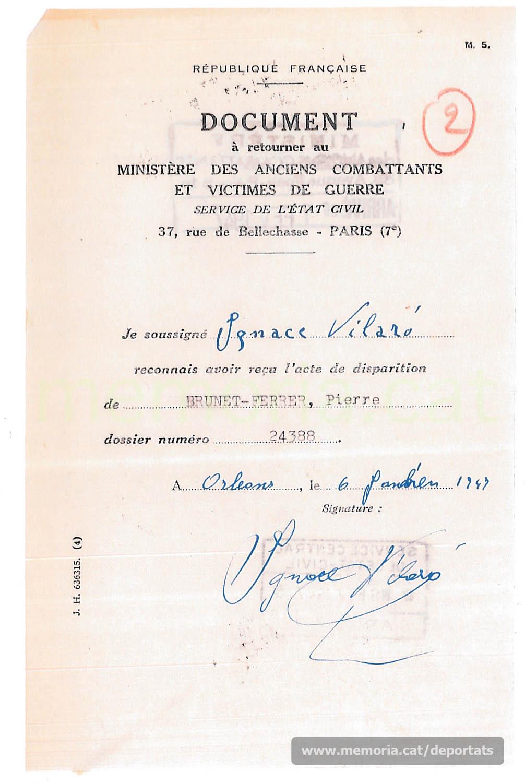 Rebut d'Ignasi Vilaró conforme li ha estat comunicat el certificat de desaparegut de Pere Brunet  (Font: Archives des Victimes des Conflits Contemporains – Caen, França)