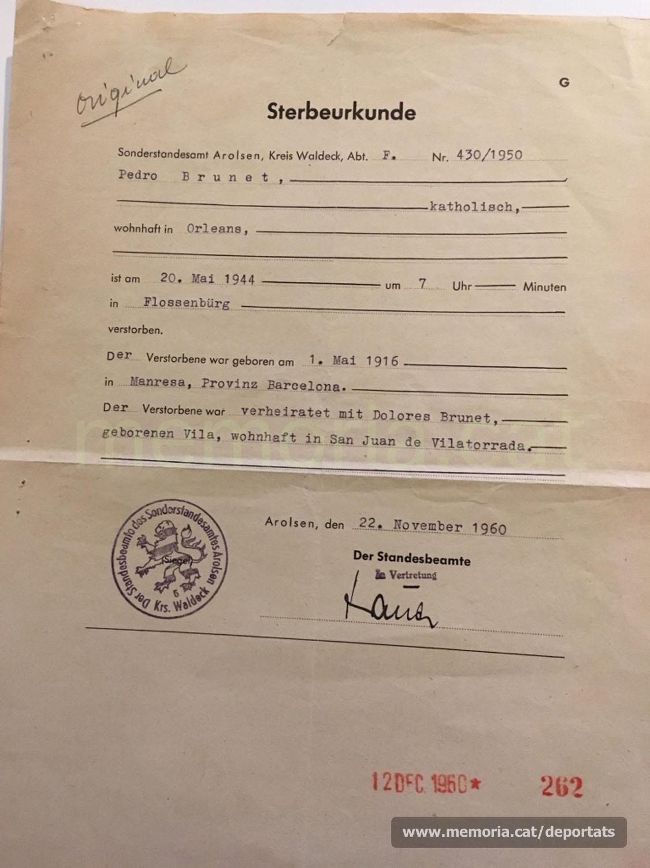 Certificat de defunció del Registre d'Arolsen (República federal alemanya) emès el 1960 (Font: arxiu personal de Ferran Brunet)
