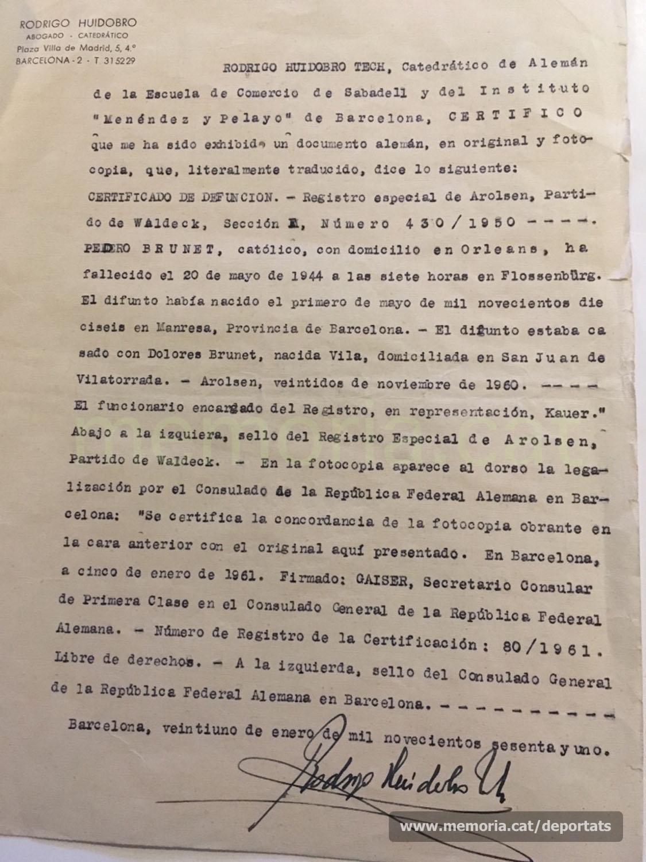 Traducció del certificat anterior (Font: arxiu personal de Ferran Brunet)
