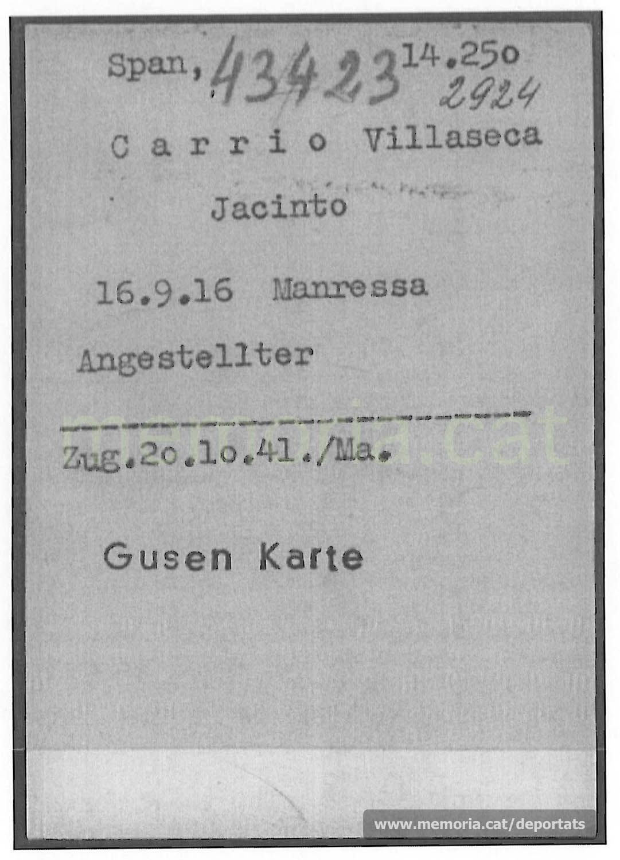 Fitxa de presoner de Carrió a Gusen, amb la data d'ingrès provinent de Mauthausen (Font: ITS Bad Arolsen)
