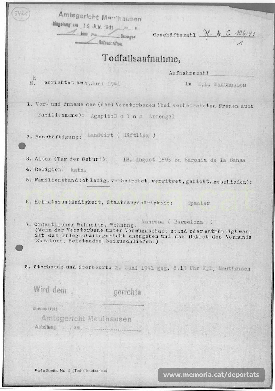 Acta de defunció d'Agapit Colom feta a Mauthausen. (Font: ITS Bad Arolsen)