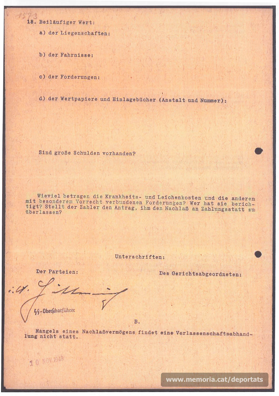 Acta de defunció de Bernat Comín feta a Mauthausen. (Font: ITS Bad Arolsen)