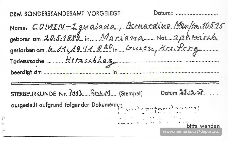 Fitxa de la Creu Roja Internacional del 1957 establint el registre de Comín dins el llibre de defuncions de Gusen. Com a causa de la mort hi apareix una aturada cardíaca. (Font: ITS Bad Arolsen)
