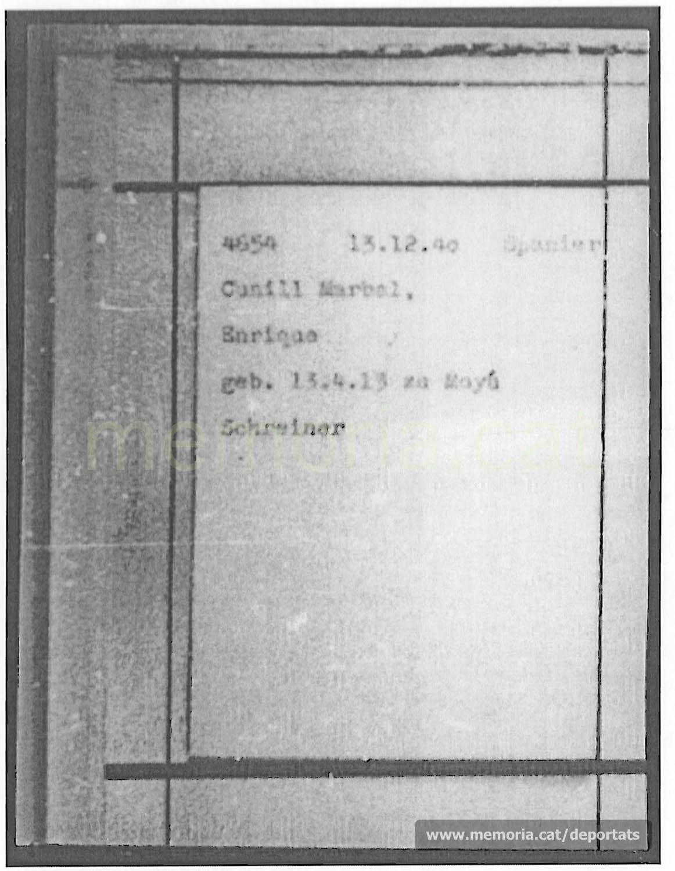"""Fitxa de presoner de Mauthausen, amb número identificatiu, data d'arribada i categoria (Spanier). Com a professió hi apareix """"fuster"""". (Font: ITS Bad Arolsen)"""