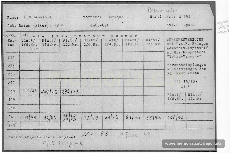 Targeta-registre de les dosis administrades a Enric Cunill en l'experimentació sobre humans d'una vacuna. Mauthausen, 1943. (Font: ITS Bad Arolsen)