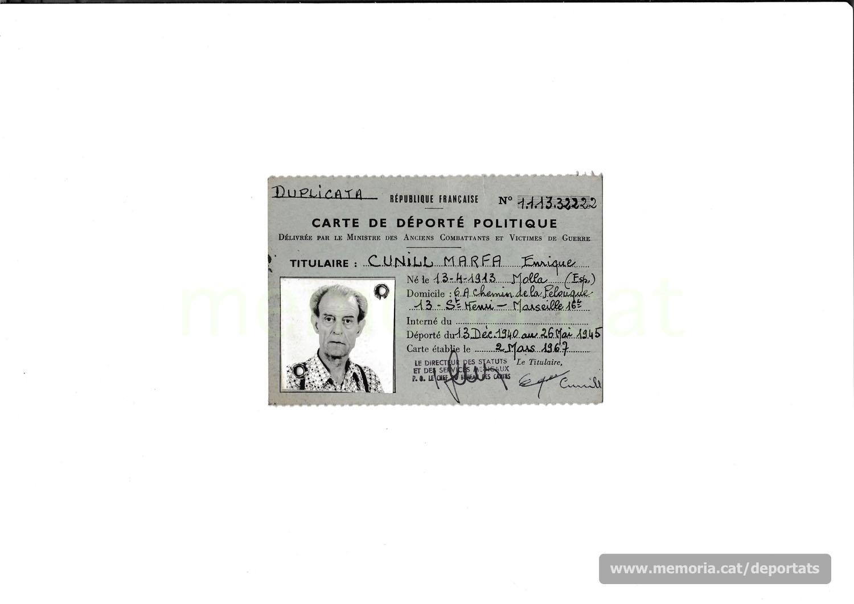 Targeta d'exdeportat polític emesa per la República Francesa (Font: arxiu personal de Laurence Cunill)