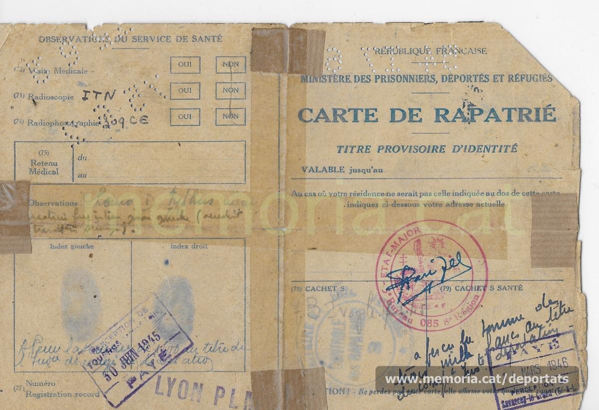 Targeta francesa de repatriat de Fèlix Labara Pena emesa el juny de 1945, poc després de l'alliberament de Mauthausen i de ser acollit a França. En les observacions sanitàries hi apareix com afectat pel tifus. Hi consten diversos pagaments d'ajudes econòmiques per part del govern de la República francesa (Font: arxiu particular de Patricia Grapeloup-Labara)
