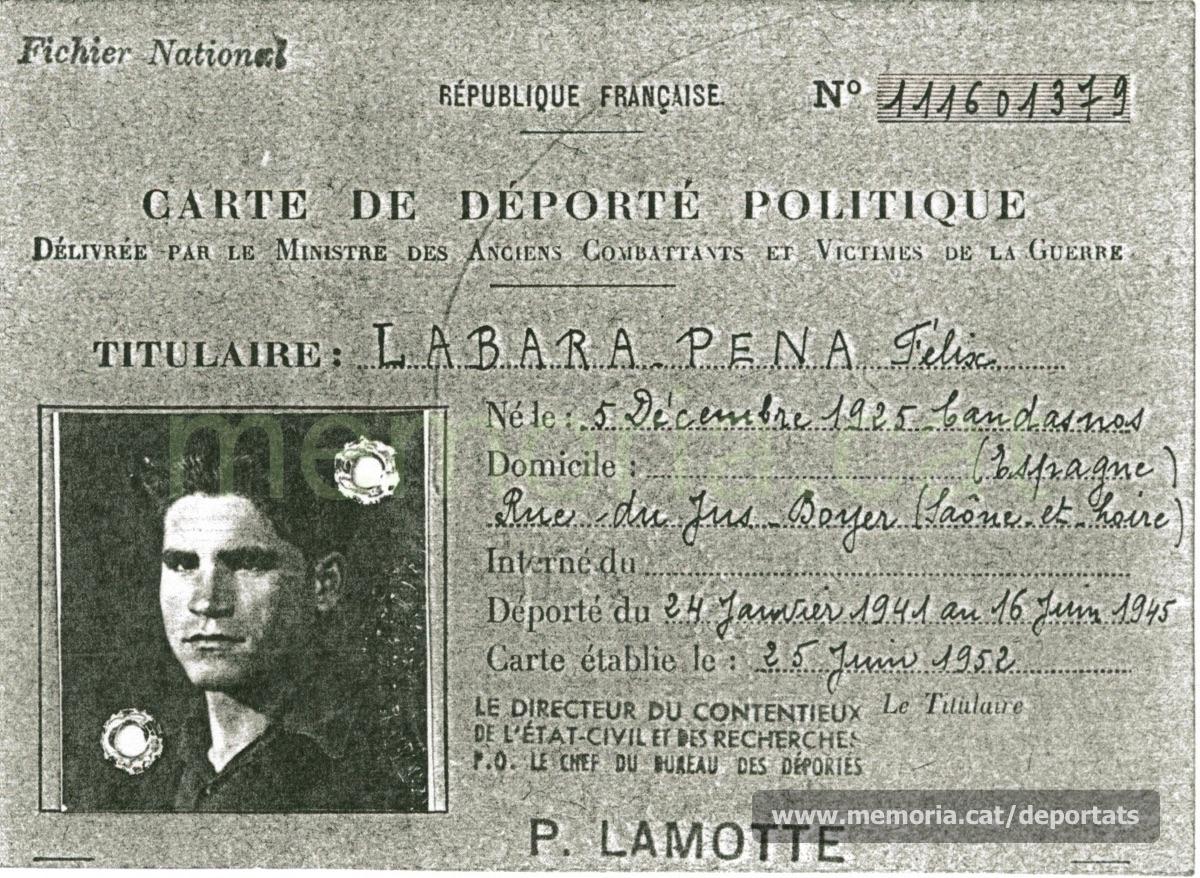 Carnet de deportat polític emès per la República Francesa el 1952 (Font: arxiu particular de Patricia Grapeloup-Labara)