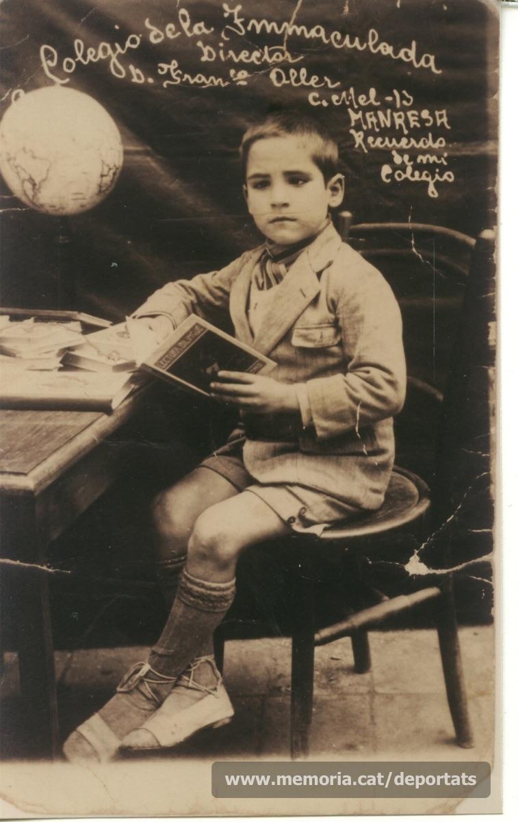 Fèlix al col•legi de la Immaculada, a Manresa, quan tenia uns set anys (Font: arxiu particular de Patricia Grapeloup-Labara)