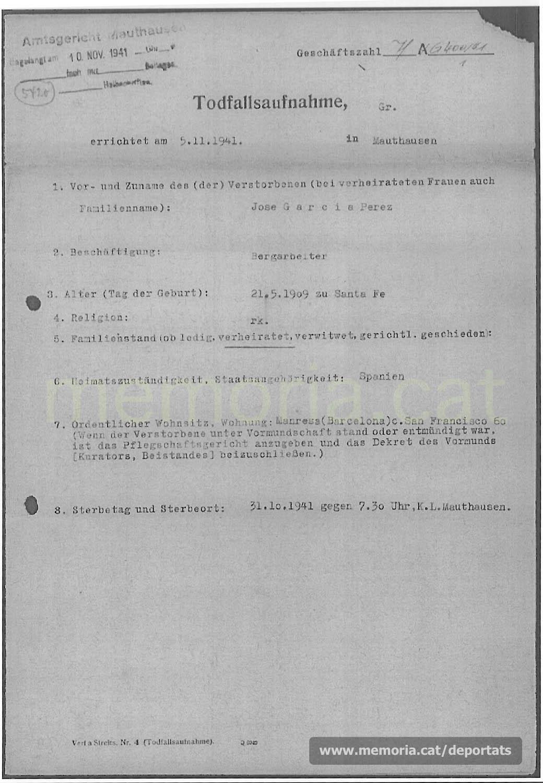 Acta de defunció de Josep García feta a Mauthausen. (Font: ITS Bad Arolsen)