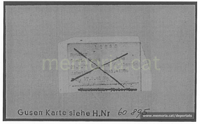 Fitxa de presoner de Mauthausen, remitint a la de Gusen. (Font: ITS Bad Arolsen)