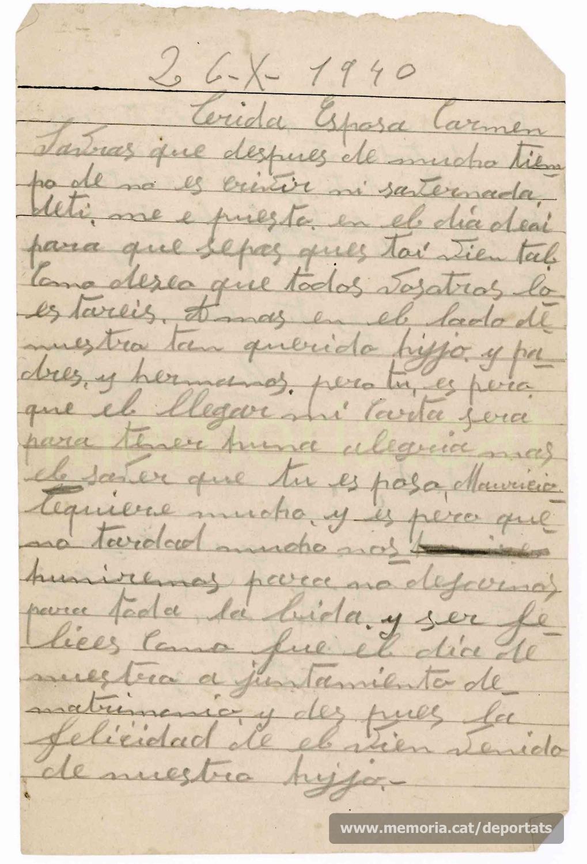 """Carta de Maurici Ribas a la seva dona des del Frontstalag 210 d'Estrasburg, enyorant-se d'ella i del seu fill Isidre.""""Font: col·lecció conservada per Rosa Corbera Flotats"""""""