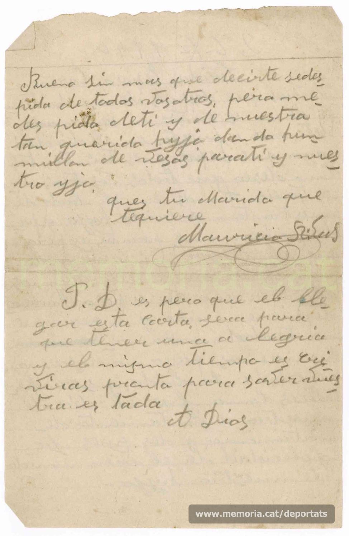 """Carta de Maurici Ribas a la seva dona des del Frontstalag 210 d'Estrasburg, del 26 d'octubre de 1940, enyorant-se d'ella i del seu fill Isidre.""""Font: col·lecció conservada per Rosa Corbera Flotats"""""""