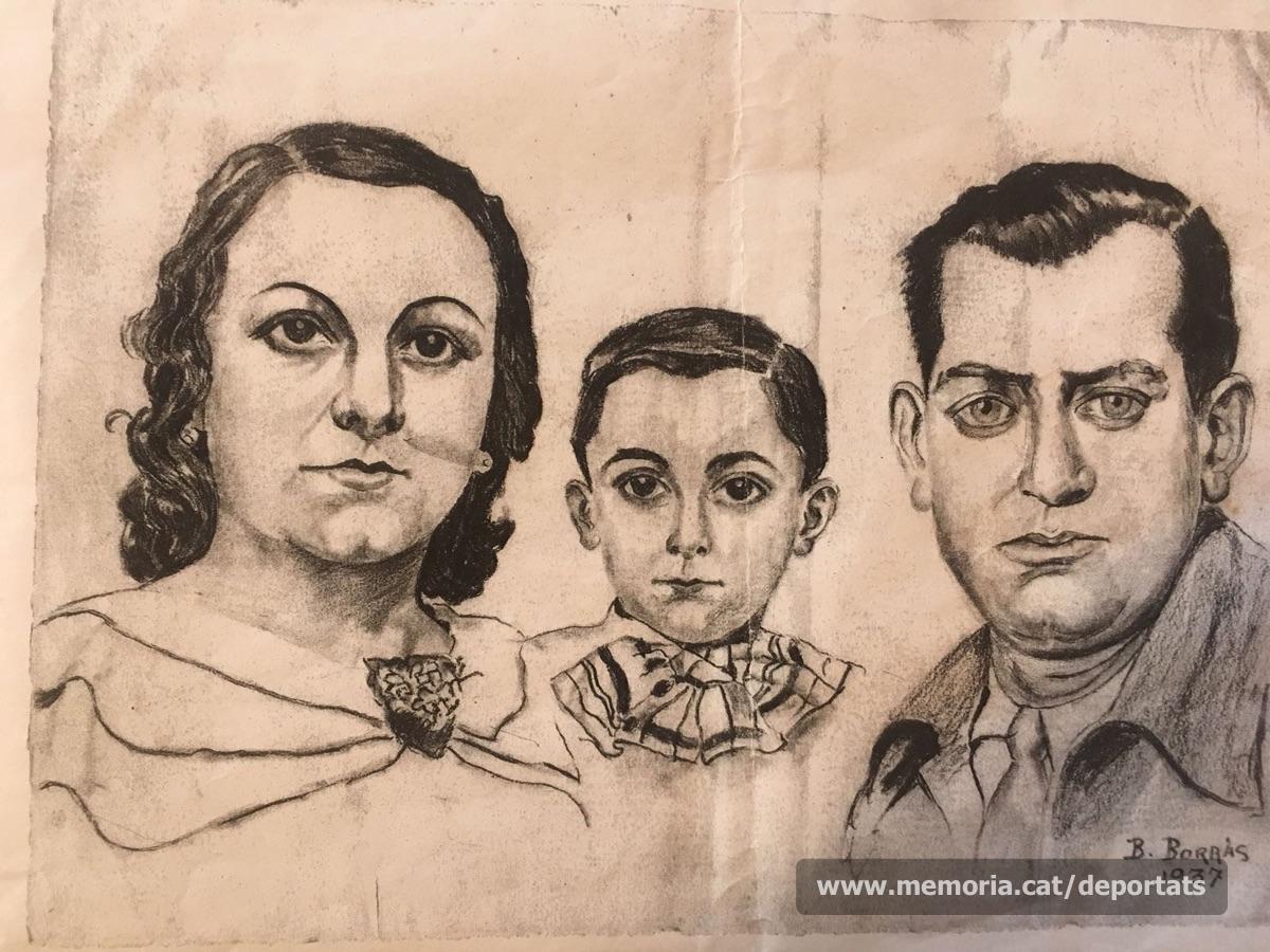 """Maurici Ribas, la seva dona Carme Cristina i el seu fill en un dibuix de l'any 1937.""""Font: col·lecció conservada per Rosa Corbera Flotats"""""""