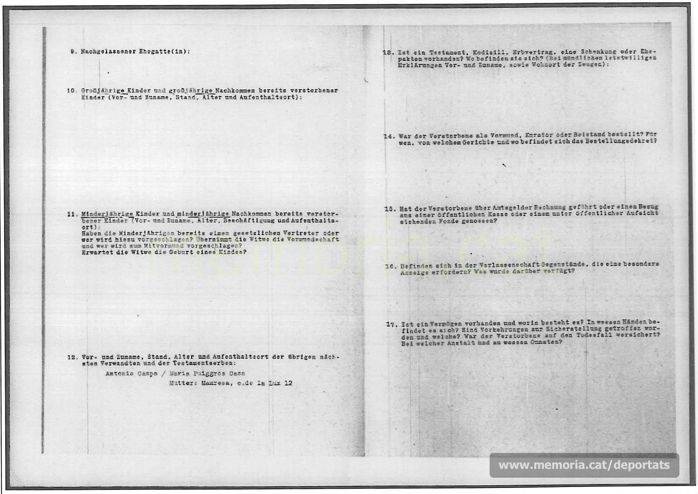 Acta de defunció de Miquel Camps feta a Mauthausen. (Font: ITS Bad Arolsen)