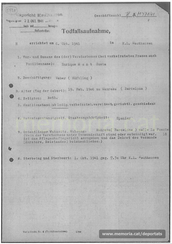 Acta de defunció d'Enric Munt feta a Mauthausen. (Font: ITS Bad Arolsen)