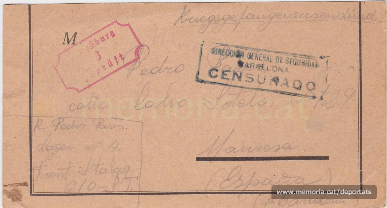 Postal del presoner de guerra Pere Parés a la seva família des del Frontstalag 210 d'Estrasburg, doblement censurada pels serveis alemanys i espanyols. Novembre de 1940 (Font: arxiu personal de Joan Pallejà Parés)