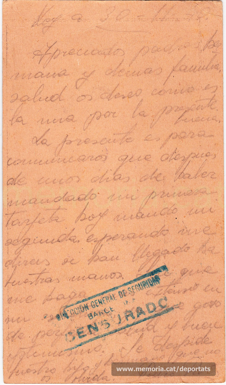 Nova postal de Pere Parés des del Frontstalag d'Estrasburg (Font: arxiu personal de Joan Pallejà Parés)