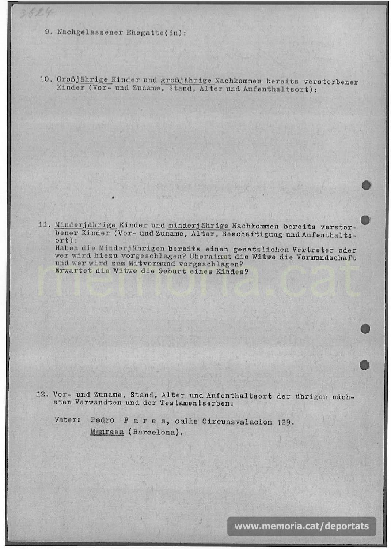Acta de defunció de Pere Parés feta a Mauthausen. (Font: ITS Bad Arolsen)