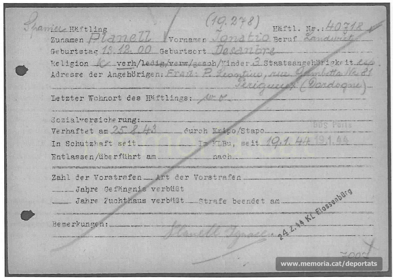 Fitxa de presoner de Planell a Buchenwald. HI consta la data de deportació i la del trasllat a Flossenbürg (Font: ITS Bad Arolsen)