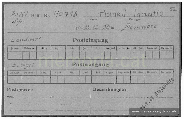 Dades de Planell a Buchenwald dins d'una fitxa de correu rebut i enviat (Font: ITS Bad Arolsen