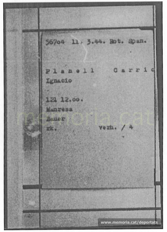 Fitxa de presoner a Mauthausen, amb número personal, data d'arribada i categoria (Spanier). (Font: ITS Bad Arolsen)