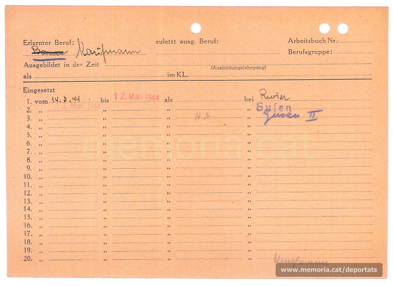 Targeta Hollerith de Planell. Les targetes Hollerith, fabricades per IBM i adoptades pels nazis a partir de l'any 1943, es feien amb unes màquines que les foradaven en funció de les característiques del personer, permetent una gestió més específica dels deportats. Hi apareixen es diferents trasllats que va patir Planell. (Font: Archives des Victimes des Conflits Contemporains – Caen, França)