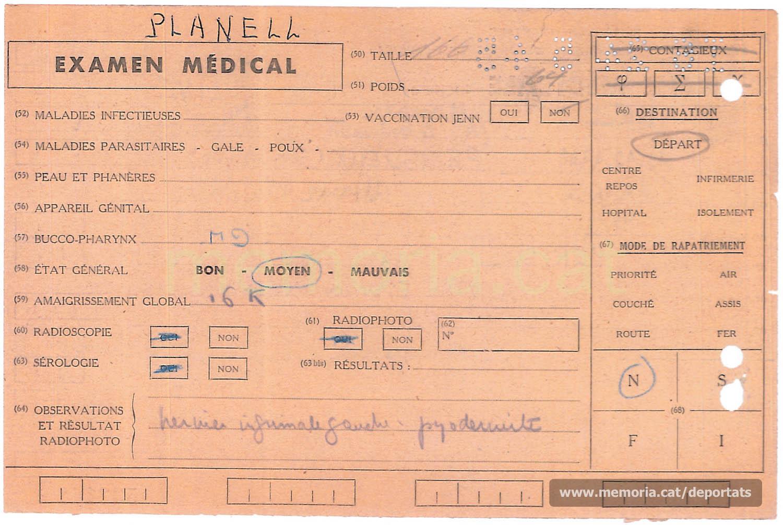 Fitxa mèdica de Planell elaborada al centre de repatriació de Mulhouse (Alsàcia) el 24-5-1945, setmanes després de l'alliberament dels camps. Al concepte nº59 s'hi anota que s'havia aprimat 16 quilos. (Font: Archives des Victimes des Conflits Contemporains – Caen, França)