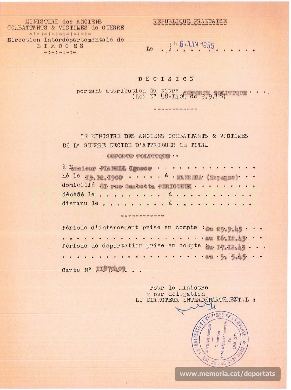 Atribució del títol de deportat polític a Planell, per part del Ministre dels Antics Combatents i Víctimes de Guerra francès, juny de 1955 (Font: Archives des Victimes des Conflits Contemporains – Caen, França)