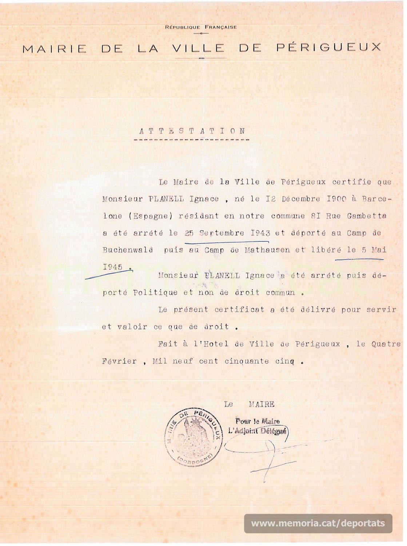 Certificat de l'ajuntament de Perigús que Planell havia estat arrestat i deportat per motius polítics (Font: Archives des Victimes des Conflits Contemporains – Caen, França)