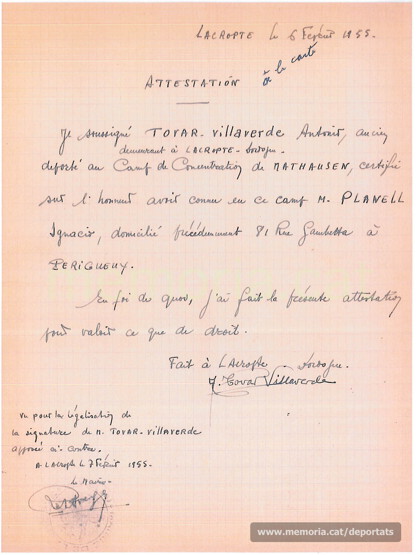 Document donant fe que Planell havia estat deportat a Mauthausen, signat pel també deportat Antonio Tovar (Font: Archives des Victimes des Conflits Contemporains – Caen, França)