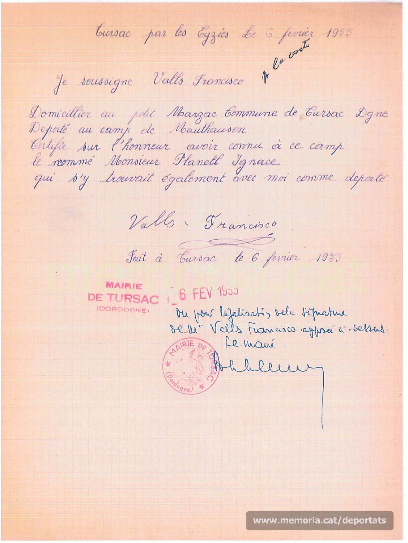 Document donant fe que Planell havia estat deportat a Mauthausen, signat pel també deportat Francesc Valls (Font: Archives des Victimes des Conflits Contemporains – Caen, França)