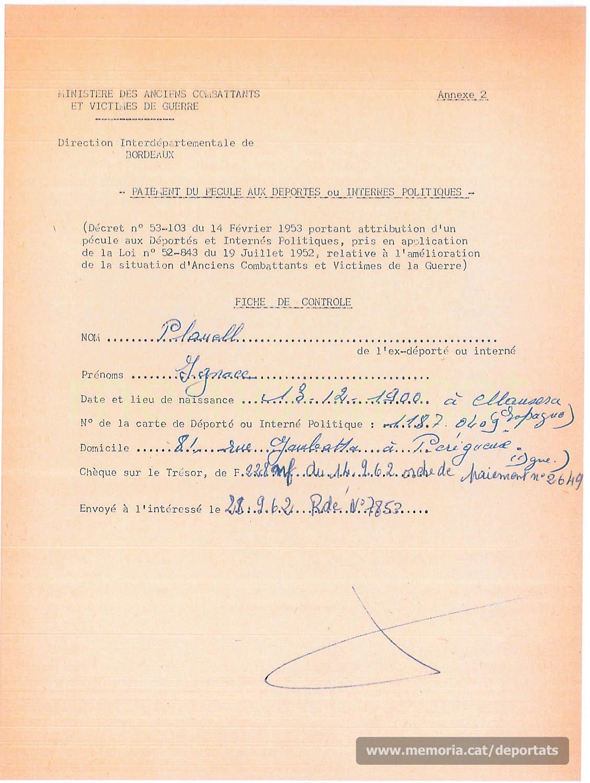 Subsidi del govern francès als deportats i internats polítics, 1962 (Font: Archives des Victimes des Conflits Contemporains – Caen, França)