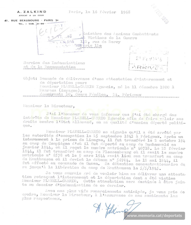Petició d'un certificat de deportació de Planell al Ministeri francès per tal de poder rebre la indemnització aprovada pel govern de la República Federal Alemanya, febrer de 1968. (Font: Archives des Victimes des Conflits Contemporains – Caen, França)